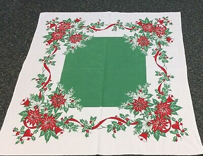 """Vintage 50s Christmas Tablecloth 44""""x53"""" Bell Poinsettia Berry Ribbon Red Green"""