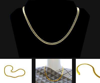 18K Gold Plated Stainless Steel Curb Necklace For Men Chain Width 5mm Jewellery