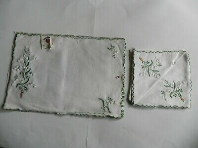 Original Madeira Hand Embroidery 4 Fine Linen Placemats Matching 4 Napkins New