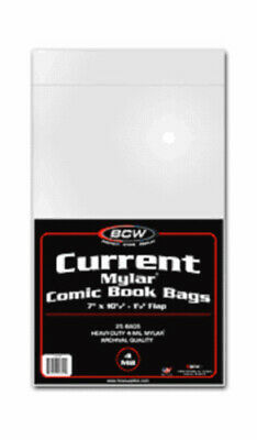 (4) Bcw Comic Book Current Modern Age 4 Mil Mylar Storage Bags