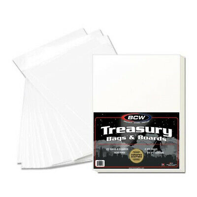 (500) Bcw Treasury Comic Book 2 Mil Soft Poly Storage Bags & Backing Boards
