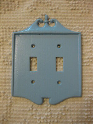 Vintage Blue Painted Brass Double Switch Plate Wall Cover Shabby Cottage Chic