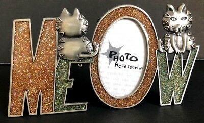 Picture Frame Cat Meow Metal Photo Picture Frame Kitty Kitten Novelty Decor