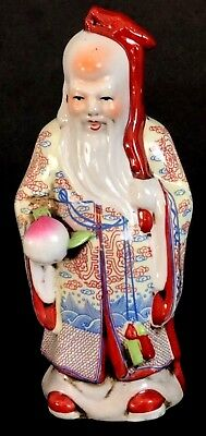 Wildwood Imports Bearded Chinese Man In Robe Holding Pomelo And Staff Red Blue