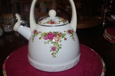 "Royal Albert ""Old Country Roses"" Whistle Tea Kettle"