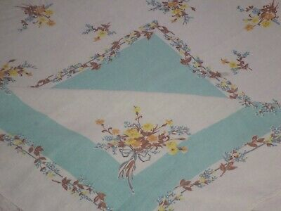 "Vintage Tablecloth Turquoise/White~Yellow Flowers~48x48""~MCM Garden Party Chic"
