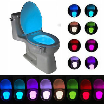 8 Colors Toilet Night Light LED Motion Activated Seat Bowl Sensor Lamp Bathroom