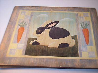 Vintage Barnyard Animal Placemats Set 4 Cow Pig Rabbit Rooster Distressed