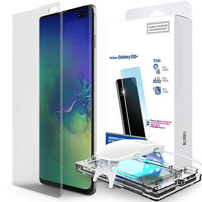For Samsung Note10 9 S9 Plus Liquid Screen Protector Full UV Glue Tempered Glass