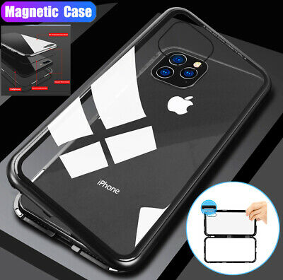 Magnetic Absorption Case For iPhone 11 Pro Max/X XR XS Metal Bumper Glass Cover