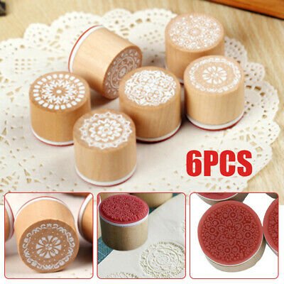 6PC Emboss Wood Stamp Mandala Lace Floral Pottery Polymer Clay Craft DIY Tool