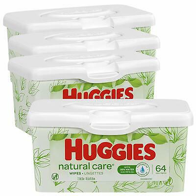 HUGGIES Natural Care Unscented Baby Wipes Sensitive 4 Refill Tubs 64 Wipe Each