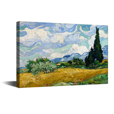 Wheatfield With Cypress Vincent Van Gogh HD Canvas Art Print Oil Painting12x16in