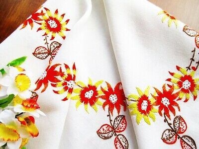 """Vintage Embroidered White Linen Tablecloth 47"""" Orange Yellow Brown Autumn Colors"""