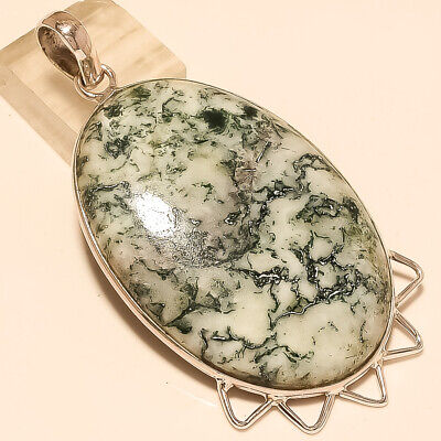 Natural Mexican Moss White Agate Pendant 925 Sterling Silver Christmas Jewelry A