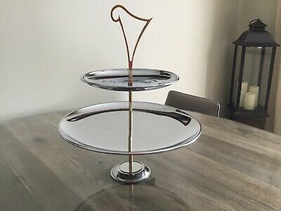 Large Silver Cake Stand 2 Tier Chrome Stand. Harp Shape Handle Stunning Decor