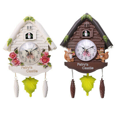 Wooden Antique Style Cuckoo Wall Clock Flower Animal Fairy Castle, Bell, Battery