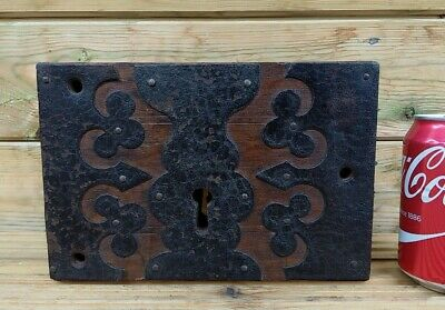 "Large Antique Vintage Decorative Wood and Metal Door Lock - 9"" x 6"""
