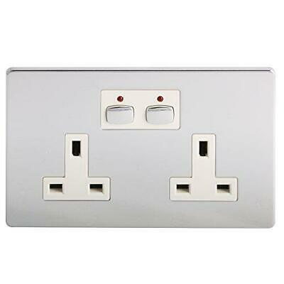 Energenie MIHO022 Remote And App Controlled Polished Chrome Double Wall Socket