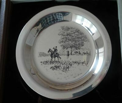 English Sterling Silver Riding To The Hunt Plate, Horse Equestrian James Wyeth