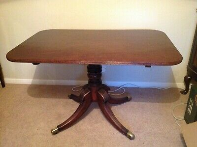 Antique Original George III Mahogany Rectangular Tilt-Top Pedestal Table