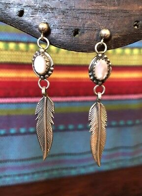 Vintage Native American Sterling Silver Pink MOP Feather Dangle Post Earrings