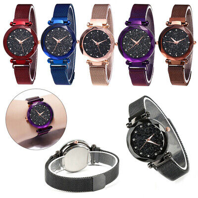 Fashion Ladies Watch Starry Sky Round Dial Women Bracelet Watches Magnetic