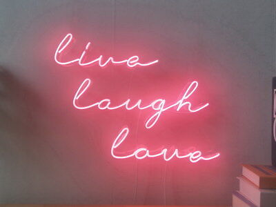 New Live Laugh Love Neon Lamp Real Glass Home Beer Bar Decor Gift