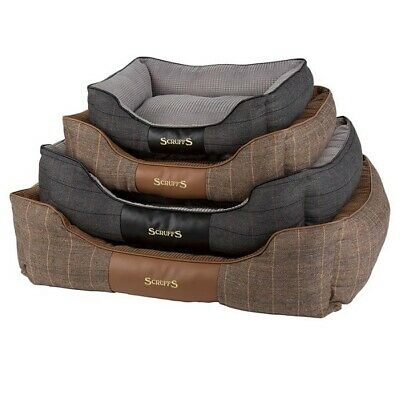 Scruffs Windsor Box Dog Bed - Luxury Puppy Quilted Rich Tweed Pet Check Chenille