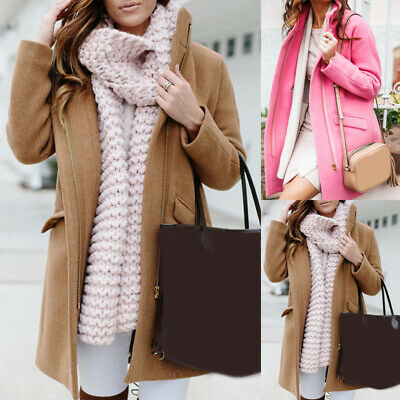UK Women Ladies Long Sleeve Overcoat Woolen Long Trench Coat Winter Warm Outwear