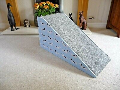 32cm High Pet Ramp, lovely 100%  cotton Powder Blue Dachshund Fabric