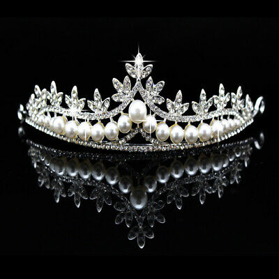 Crystal Rhinestone Pearl Tiara Hair Accessories Crown Wedding Bridal Headband uk