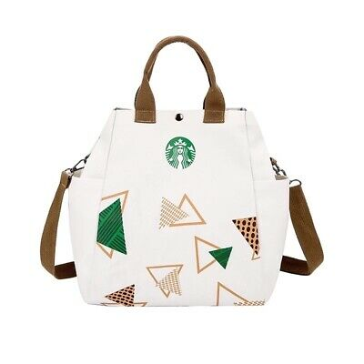 Starbucks Reusable Canvas Tote Bag, Coffee, White, Fashionable, Earth, Recycle