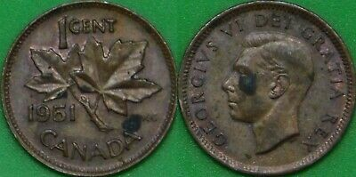 1951 Canada 1 Cent Graded as Brilliant Uncirculated Stained Coin