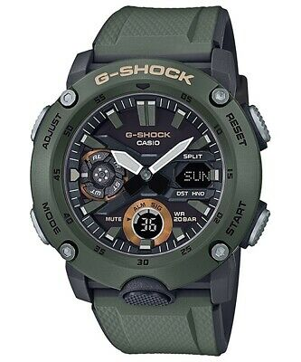 Casio G-Shock Carbon Core Guard Watch with Military Green Resin Strap GA-2000-3A