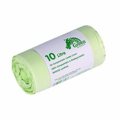 50x 10 Litre Compostable Caddy Liners for Food Waste/Caddy Bags - 10L