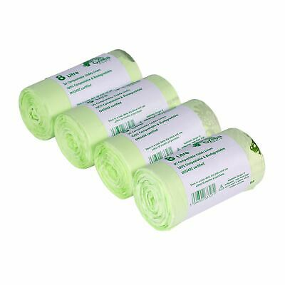 200x 8 Litre Compostable Caddy Liners for Food Waste/Caddy Bags - 8L