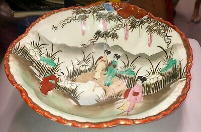 Antique Pre 1891 Kutani Handpainted Japanese Bowl W/ Geishas In The Garden