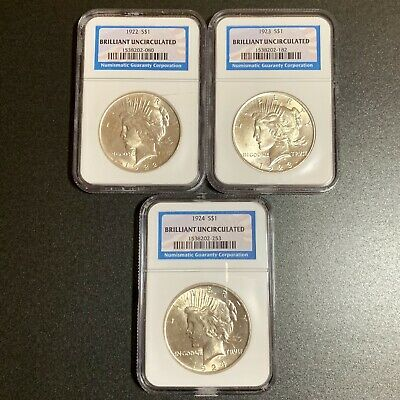 Set of 3 U.S. PEACE Silver DOLLARS NGC Brilliant Uncirculated 1922 1923 1924 BU