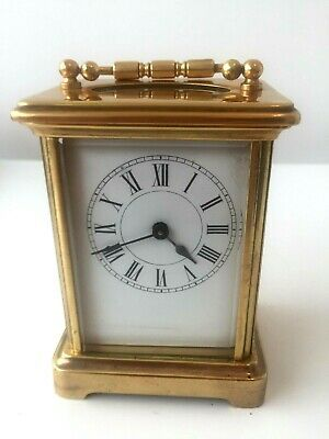 A Nice Vintage / Antique Brass 8 Day Carriage Clock Good Working Order
