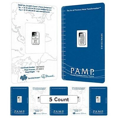 Lot of 5 - 1 gram PAMP Suisse Lady Fortuna Platinum Bar .9995 Fine (In Assay)