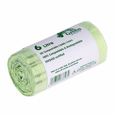 50x 6 Litre Compostable Caddy Liners for Food Waste/Caddy Bags - 6L