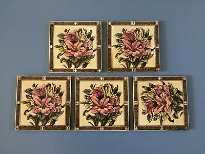 Collection Of 5 Beautiful Maw & Co Ld Antique Victorian Tiles Of Floral Design