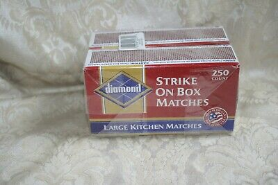 DIAMOND Strike On Box 500 Matches Sealed 250 count Large Kitchen Matches 2 Pack