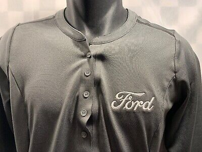 FORD Motor Company Embroidered 1/4 Button Shirt Men's Size M