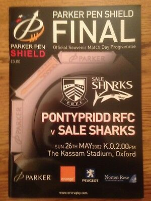 Pontypridd v Sale Sharks - Final Rugby Programme Played May 26th 2002 at kassam