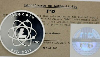 Litecoin Atomic LTC Rare .999 Silver Physcial Bitcoin #51/100 Unfunded Coin BTC