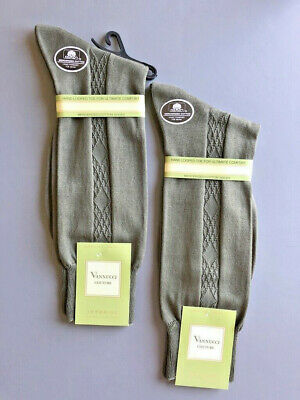 Vannucci Dress Socks Mens 2 Pair 10-13 $30 Olive Diamond Patterned