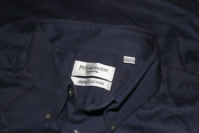Yves Saint Laurent YSL Mens Casual Shirt Thick Cotton Long Sleeve Dark Blue L XL
