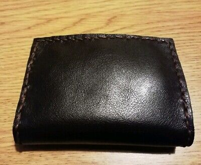 handmade slim threefold  real calf leather mens wallet